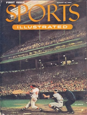 "Sport Illustrated - First Issue - ""Night Baseball"" in Milwaukee County Stadium and shows Milwaukee Braves slugger Eddie Mathews at the plate"