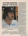 "Catfish Hunter Yankees signed full color 8""x10"" magazine page!"