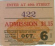 Vintage Ticket Stub - October 6th 1941 Boxing